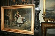 Fine Antique American Genre Oil Painting Children Playing O/c