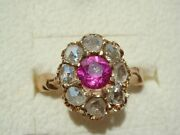 Antique Imperial Era Russia 14k Rose Gold Rose Cut Diamond And Synthetic Ruby Ring