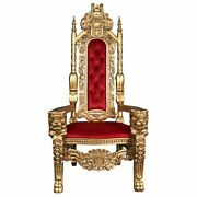 Af1282 - Golden Lord Raffles Lion Throne Chair - Mahogany Historical Replica