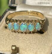 Antique Edwardian 18ct Gold Five Opal Ring Size S / T Chester 1906 3.8g Hallmark
