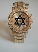 Men's Gold Finish With Gold Dial 6 Point Star Brand New Heavy Fashion Watch