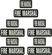 Fire Marshal Embroidery Patches 3x10 And 3x5 Hook On Back Blk/white