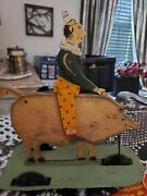 Antique Vintage Metal Pull Toy Clown On Pig Hand Painted