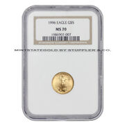 1996 5 American Gold Eagle Ngc Ms70 Perfect Graded 1/10 Oz 22kt Bullion Coin