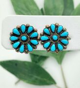 Native American Ss Turquoise Floral Studs- Vintage Estate- 20.5mm Wide