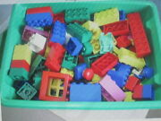 Huge Lot Of 256 Lego Duplo Blocks Varies Colors And Sizes, With A Small Base Plate