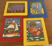 Vintage 1972 Playskool Play Tray Board Puzzles Jigsaw Toddler Kids Complete