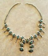 Vintage Navajo Native American Sterling Silver Turquoise Squash Blossom Necklace