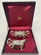 Corbell And Co Silverplate Sugar And Creamer W/ Eagle And Repousse Faces In Case