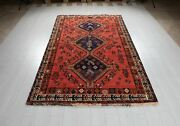 Vintage Tribal Area Rug Faded Red 5x8 Handmade Soft Oriental Wool Carpet 8and0393x5and039
