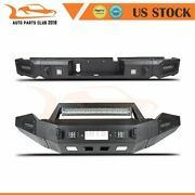 Offroad Powder Coated Front Rear Bumper Guard W/ Led Lights For 13-18 Dodge Ram