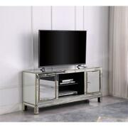 Aristotle Modern Silver Mirrored Wood Tv Stand