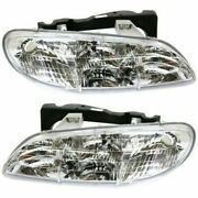 Driver And Passenger Side Set Of 2 Head Lamp Assembly Fits Pontiac Grand Am