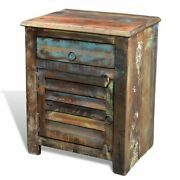 Reclaimed Wood End Table Antique-style Sofa Side Table Cbinet W/ Draweranddoor Us