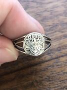 Vintage 1940s Sterling Silver Girl Scout Ring Eagle Logo Size 6 Rare Collector