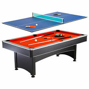 Hathaway Maverick 7-foot Pool And Table Tennis Multi Game With Red Felt And Blue