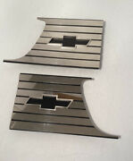 New 1957 1958 Chevy Cameo Bedside Bowtie Chrome Sail Plates Pr Usa Free Shipping