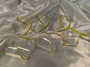 Vintage Set Of 6 Napkin Rings Open Twist Spiral Pale Yellow Lucite Acrylic 2x2