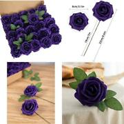 Luluhouse 25pcs Artificial Flower Foam Rose Purple Real Touch Roses Flower Heads