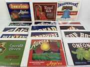 Lot Of 15 Vintage Authentic Fruit Box Crate Labels Washington Apples With Coa