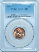 1954 P Pcgs Ms66+rd Red Lincoln Cent
