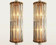 Pair Vintage Art Deco Skyscraper Brass And Glass Rod Ship Light Wall Sconces Lamp