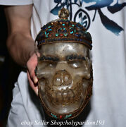 7.2 Old Tibet Nepal Crystal Copper Filigree Inlay Gems Turquoise Skull Statue