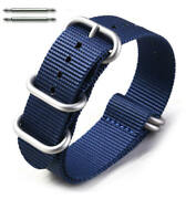 5 Ring Ballistic Army Military Blue Nylon Fabric Replacement Watch Band 3023