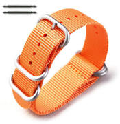 5 Ring Ballistic Army Military Orange Nylon Fabric Replacement Watch Band 3025