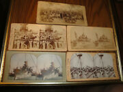 Vintage Stereograph Cards Of Us Battleship Maine, Iowa, And Oregon, And Army Camp