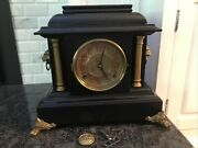 Antique Early 20th Century Ingraham Footed Adamantine Mantle Clock Lion Head