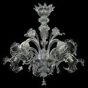 Chandelier Murano Glass 5x14 Clear Cristallo. With Certificate