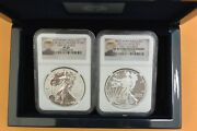 2013-w West Point Silver Eagle 2 Coin Box Set Ngc Pf69/sp69 Reverse/enhanced Fr
