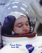 Michael Collins Apollo 11- Suited Up -hand Signed- 8x10 Photo Nasa W- Coa- Mint
