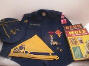 Mid 1960's Cub Scout Collection, Shirt Hat Kerchief Pins Patches Ring Books