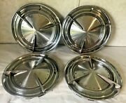 Set Of 4 Vintage Pontiac Motor Division Chrome Baby Moons Poverty 60and039s Hubcaps