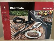 New Chefmate 7 Piece Bbq Tool Set Barbecue Grill Brush Tongs Thermometer Spatula
