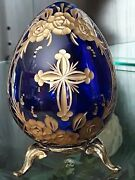 Russian After Faberge Cobalt Blue Etched Gold Art Glass Egg W/ Gold Metal Stand