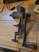 Antique Meat Grinder / Food Chopper Universal Number 1 - Cast Iron And Wood