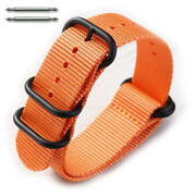 5 Ring Ballistic Army Military Orange Nylon Fabric Replacement Watch Band 3026