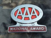Vintage Aaa National Award License Plate Topper With Bracket