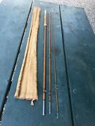 Montague Vintage Antique Bamboo Three-piece Fly Fishing Rod With Sock