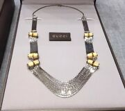 3000 Runway Bamboo Horse Bit Sterling Silver Chain Link Necklace Retired