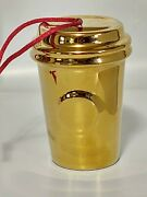 Starbucks 2014 Christmas Ornament Mini To Go Cup Gold Holiday Collectible