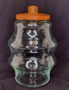 Antique Art Deco Glass Candy/cracker Jar Store Display Apothecary Red Metal Lid