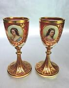 Pair Exquisite Ruby Red And Gilt Bohemian Glass Goblets With Portraits And Florals