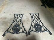 Vintage Singer Sewing Machine Cast Iron Base Legs With Wheels