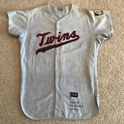 1964 Sam Mele Minnesota Twins Signed Photomatched Game Used Road Flannel Jersey