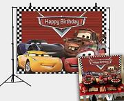 Red Cars Backdrop For Children Boys Birthday Party Supplies Vinyl Checkered F...