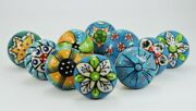 Indian Handcrafted Knobs Multi Floral Handle Ceramic Cabinet Hardware Pull Pulls